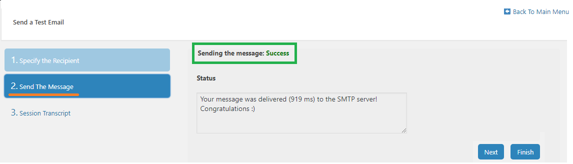 Success response on test email