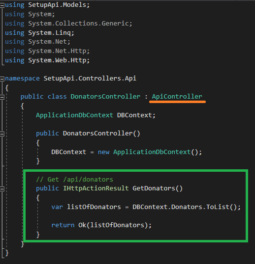 Add method to Api controller to get list of donators