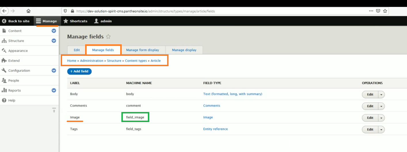 Get machine name for image field in content type article Drupal 8 site