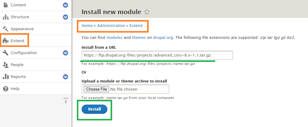 Install Advanced CORS module Drupal 8.x site